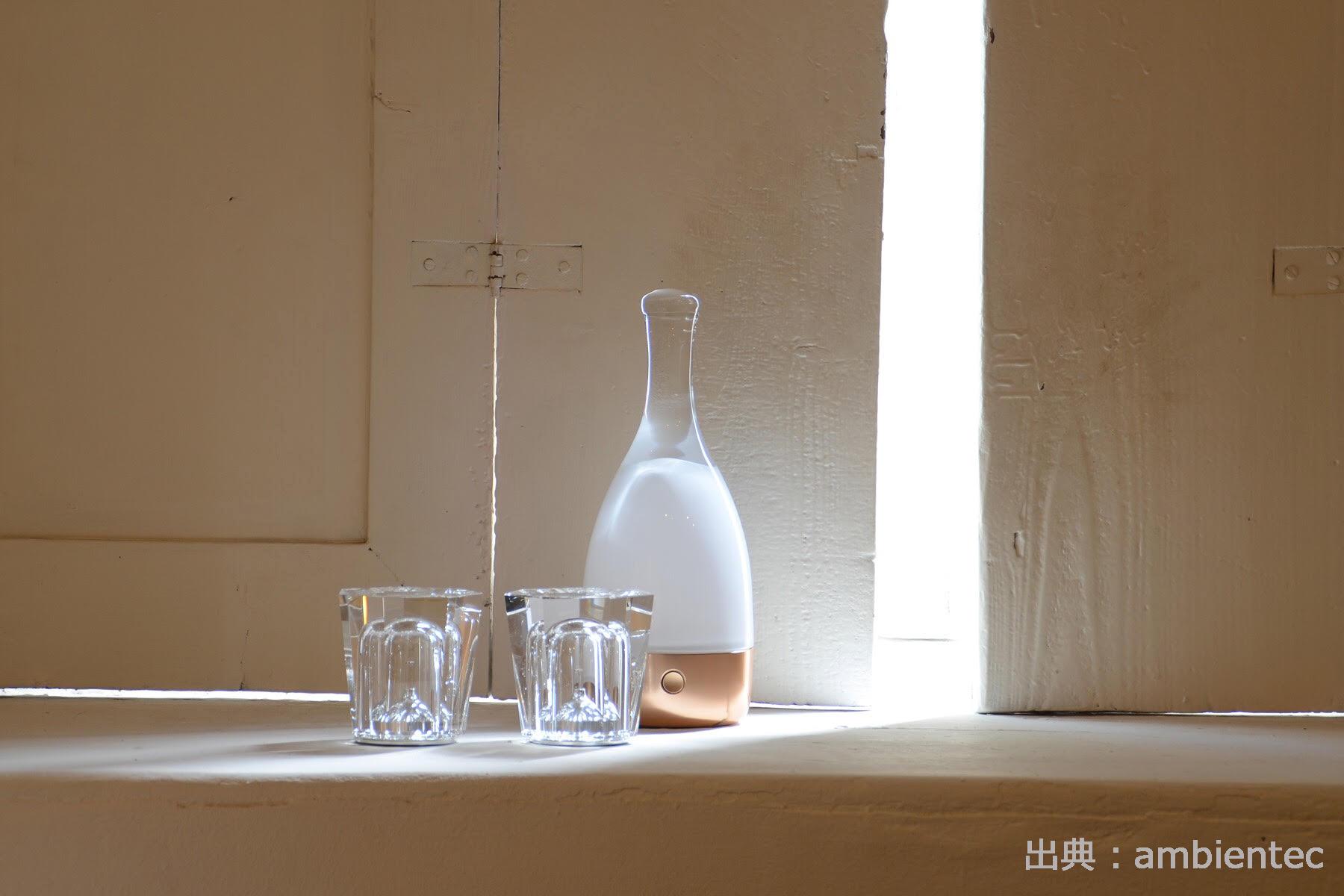 ワイン型のコードレス照明