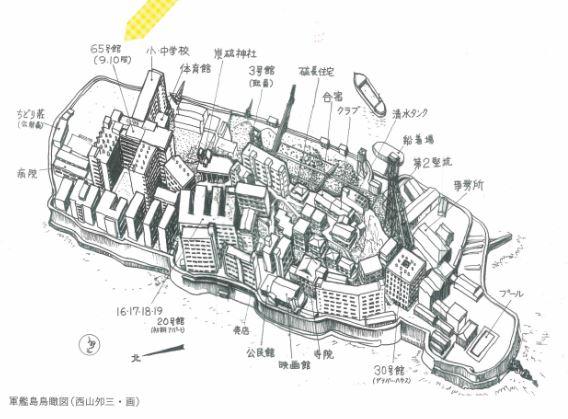 軍艦島の全体像写真